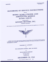 Kinner R-540 -1 Aircraft Engine Service Manual  ( English Language )