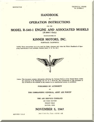 Kinner R-540 -1 Aircraft Engine Operating Manual  ( English Language )