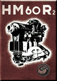 Hirth Motor HM 60 R/2  Aircraft Engine HTechnical  Manual  ( German Language )  Prospekt