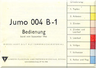 Junkers Flugzeug- und Motorenwerke A.G. Dessau  Aircraft Engine Operation  Manual  ( German Language ) Bedienung