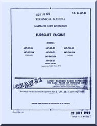 General Electric J47 -ST-25 - 25A - GE-23 -25 -25A -27  -PM-25 -25A   Aircraft Jet  Engine  Illustrated Parts BreakdownManual  ( English  Language ) -1969 -  2J-J47-24