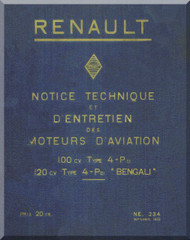 "Renault Type 4-P "" Bengali ""   Aircraft Engine  Technical Manual  ( French Language )  - 1933"