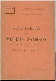 Salmson 9 AB Aircraft Engine Technical Manual   (French Language )