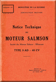 Salmson 9 AD Aircraft  Aero Engine Technical Manual   (French Language )