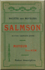 Salmson 9 Zm Aircraft  Aero Engine Description Manual   (French Language )