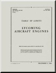 Lycoming R-680 Aircraft Engine Table of Limits  Manual  ( English Language )