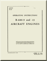 Lycoming R-680 -9 -13  Aircraft Engine Operating Instruction Manual  ( English Language )