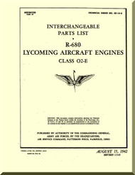 Lycoming R-680 Aircraft Engine Interchangeable Parts list Manual  ( English Language )
