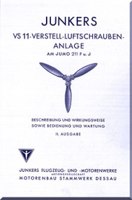 Junkers Aircraft Propeller VS11 Instruction Manual