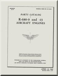 Lycoming R-680 -9 -13 Aircraft Engine Parts Catalog  Manual  ( English Language )