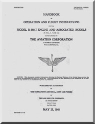 Lycoming R-680 -3 -5 -7 -11 Aircraft Engine Operation Flight  Manual  ( English Language )