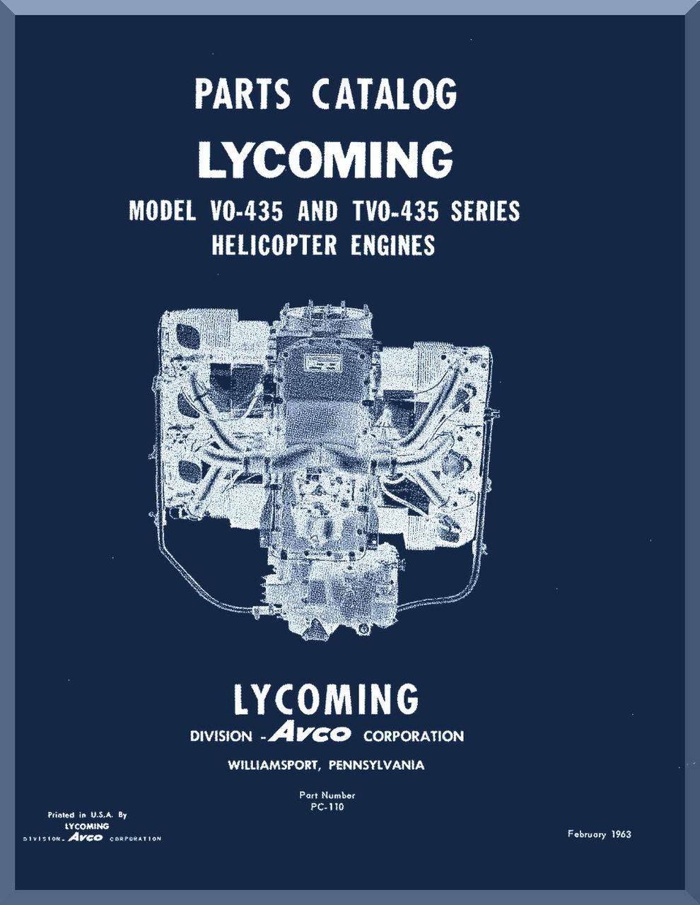 Lycoming Vo 4350 Series And Tvo 435 Helicopter Engine Parts Manual Diagram Image 1