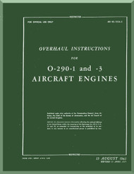 Lycoming O-290-1, -3 Aircraft Engine Overhaul Instruction  Manual  ( English Language ) ,  T.O. 02-15CA-3 , 1943