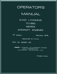 Lycoming TO-360,Aircraft Engine Operator's Manual  ( English Language ) , 1976