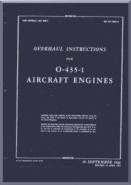 Lycoming  O-435 -1 Aircraft Engine  Overhaul Manual  ( English Language ) , 1945 - AN 02-15BA-3