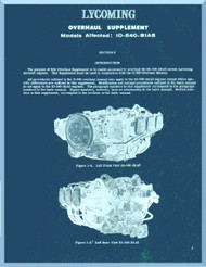 Lycoming  IO-540-B1A5 Aircraft Engine Supplement overhaul Manual  ( English Language ) ,