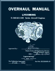 Lycoming  O-360 and O-540 Aircraft Engine Overhaul Manual  ( English Language )