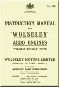 Wolseley  Renault Types Aero  Aircraft Engine Instructtion  Manual  ( English Language )
