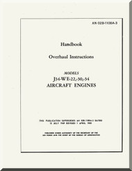 Westinghouse J34-WE-22, -30, -34  Aircraft Engine Overhaul  Manual  ( English Language )