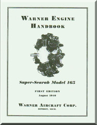 Warner Super Scarab 165   Aircraft Engine Handbook Manual  ( English Language )
