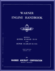 Warner Super Scarab SS 50   Aircraft Engine Handbook Manual  ( English Language )