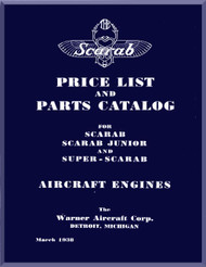 Warner Super Scarab  and Scarab Junior   Aircraft Engine Price List and Parts Catalog Manual  ( English Language )