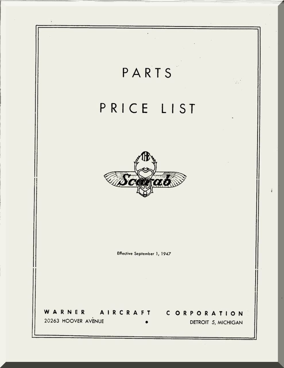 Warner Scarab Aircraft Engine Parts Price List Manual