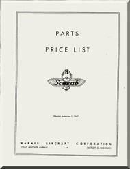 Warner Scarab   Aircraft Engine Parts Price List Manual  ( English Language )