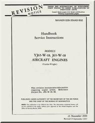 Wright Y65-W-18, J65-W-18 Aircraft Engine Service Handbook  Manual NAVAER 02B-35AAD-502   ( English Language ) -1956