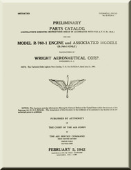 Wright R-760 1  Aircraft Engine Parts Catalog  Manual  ( English Language )