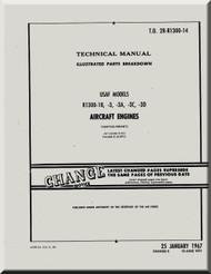 Wright R-1300 -1B -3 -3A -3C -3D   Cyclone 7  Aircraft Engine Parts Catalog  Manual  ( English Language )