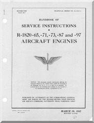Wright R-1820 -65   Cyclone Aircraft Engine Service Instructions Manual  ( English Language )