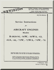 Wright R-1820 -56 -56W -56WA -62 -62A -66 -72W -72WA -74W -76   Cyclone Aircraft Engine Service Instructions Manual  ( English Language )