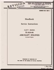 Wright R-1820 -80    Cyclone Aircraft Engine Service Instructions Manual  ( English Language )