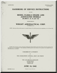 Wright R-2600 -9 Aircraft Engine Handbook of Service Instructions Manual  ( English Language ) , TO 02-35HB-2 ,  1942