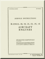 Wright R-3350  - 13 -18 -19 -21 -23 -35 -41 Aircraft Engine Handbook Service instructions  Manual  ( English Language )