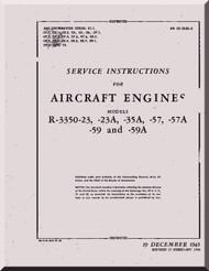 Wright R-3350  - 23 ,  23A -35A -57 -57A -59 -59A  Aircraft Engine Handbook Service instructions  Manual  ( English Language )