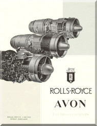 Rolls Royce Avon Aircraft Engine Brochure Manual - 1956 ( French Language )