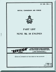 "Rolls Royce "" Nene "" Mk-10  Aircraft Engine Part list  Manual  ( English Language ) - RCAF -1950 EO 10B-15B-4"