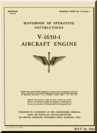 Rolls Royce Merlin V-1650-1  Operator Manual Manual  ( English Language ) - 1943 - T.O. 02-55AA-1