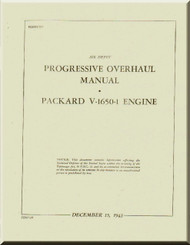 Rolls Royce Packard Merlin V-1650 -1 Aircraft Engine Progressive Overhaul Manual