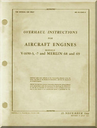 Rolls Royce Packard Merlin V1650 -3 -7   Aircraft Engine Overhaul  Manual,    (English Language ) AN 02-55AC-3 - 1944