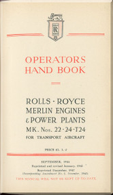 Rolls Royce Merlin Mk 22 -24 Aircraft Engine Operators Manual