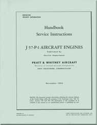 Pratt & Whitney J-57 P-1 Aircraft Engine Service Instructions Manual - 1953