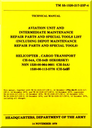 Sikorsky S-64 CH-54  A B Helicopter Maintenance  and Parts Manual 55-1520-217-23P-4