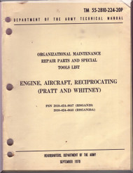 Pratt & Whitney R-985 -AN-39, -39A Aircraft Engine Organizational Maintenance repair Parts and Special Tools List Manual  ( English Language ) TM 55-2810-224-20P - 1970