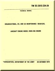 Pratt & Whitney R-985-39 A Aircraft Engine Organizational Maintenance Manual  ( English Language ) -55-2810-224 -24 -197