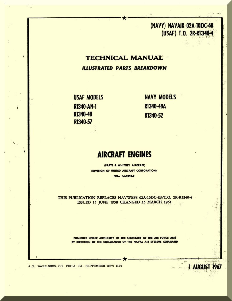 Pratt & Whitney R-1340 Aircraft Engine Illustrated Parts Catalog Manual