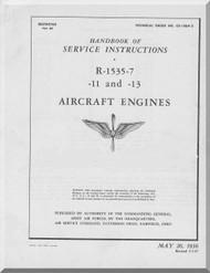 Pratt & Whitney R-1535-7 Aircraft Engine Service Instructions  Manual