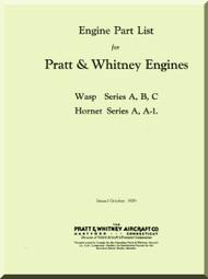 Pratt & Whitney R-1690 Wasp A B C  Hornet  A A-1  Aircraft Engine Illustrated Parts Catalog  Manual